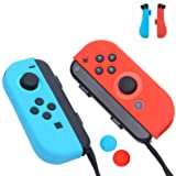 Joy-Con Gel Guards with Thumb Grips Caps for Nintendo Switch (Blue+Red) (Color: Blue+Red)