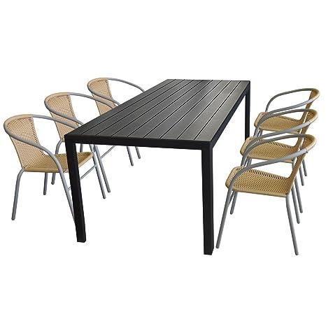 Terrassenmöbel Set Aluminium-Tisch 205x90cm mit Polywood-Tischplatte in Schwarz + 6x stapelbare Bistrostuhle mit Rattanbespannung in Beige