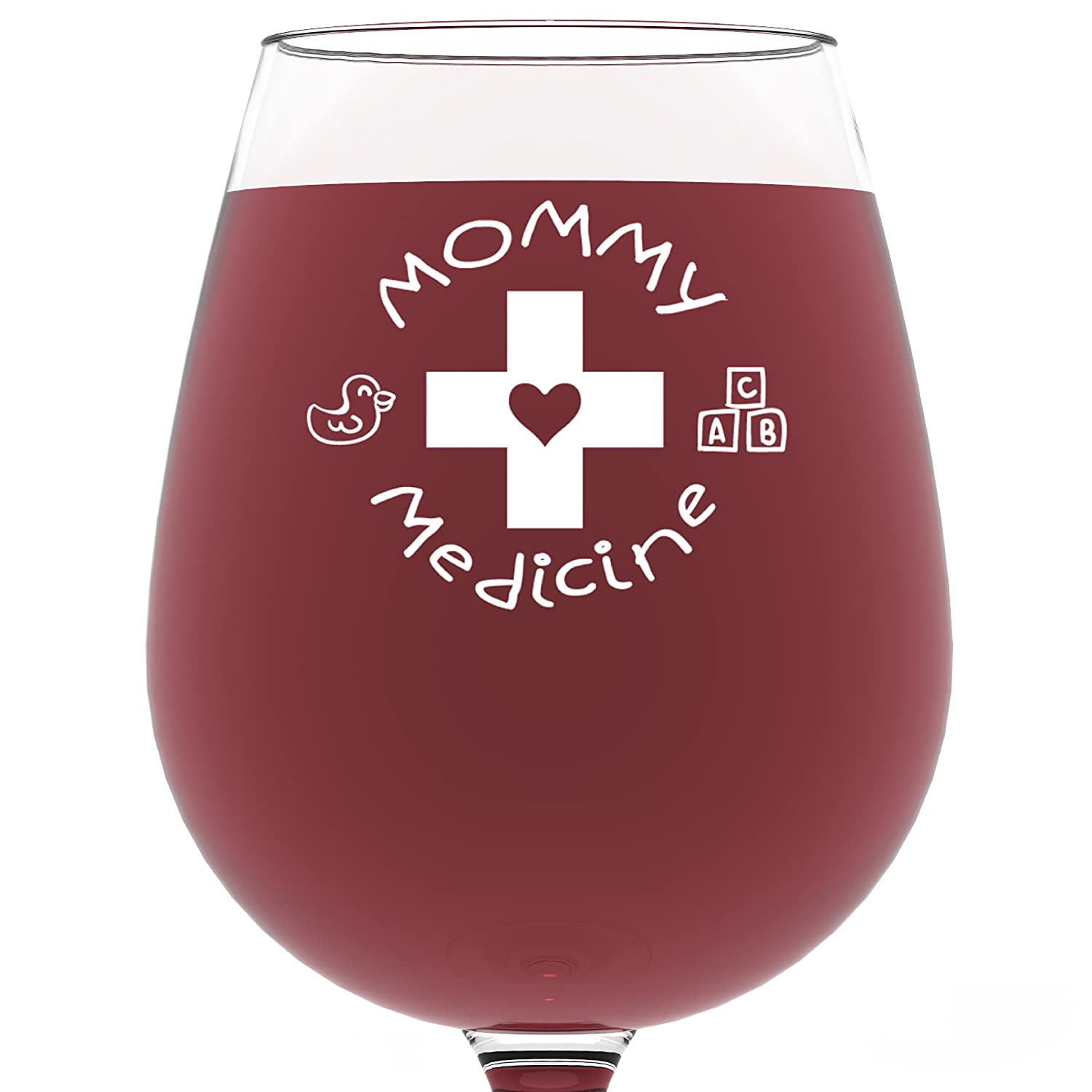 Mommy Medicine Funny Wine Glass 13 oz – Best Mother's Day Gifts For Mom – Unique Birthday Gift For Her from Son or Daughter – Cool Humorous Present Idea For Women, Wife, Girlfriend, Sister, In-law