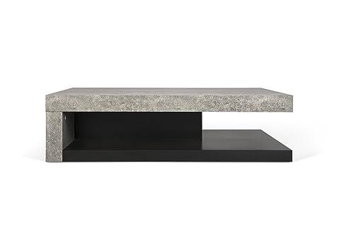 TemaHome Detroit Tavolino, Legno, Effetto Cemento/Nero, 110x65x29 cm