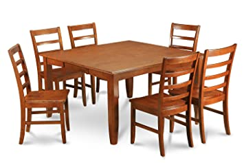 East West Furniture PARF7-SBR-W 7-Piece Dining Table Set