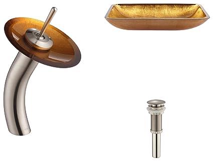 Kraus C-GVR-210-RE-10SN Golden Pearl Rectangular Glass Vessel Sink and Waterfall Faucet Satin Nickel