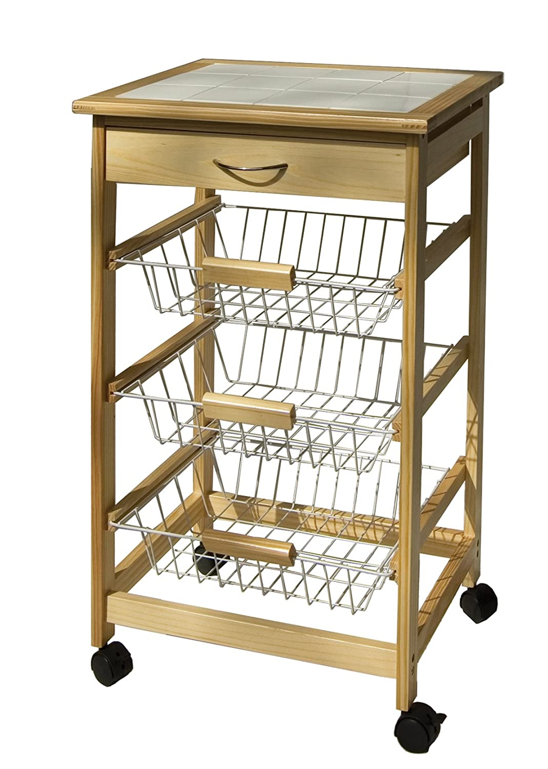 Kitchen Furniture Online India Buy Organize It All Providence Kitchen Cart With Baskets 34123w