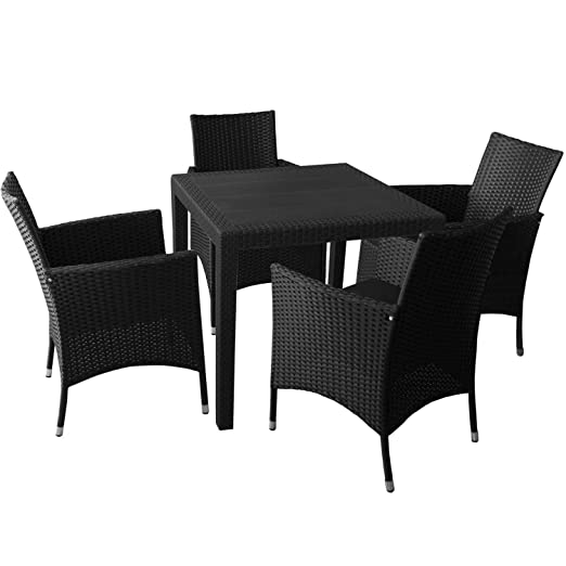 5er Sitzgarnitur Sitzgruppe Kunststoff Gartentisch in Rattan-Optik 79x79cm 4x Rattansessel mit Polyrattanbespannung inkl. Sitzkissen Gartengarnitur