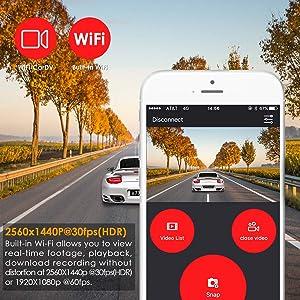 Vantrue X3 WiFi Dash Cam, QHD 2 5K 1440P @30fps 1080P @60fps Dash