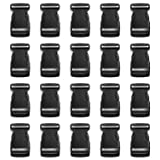 Tayeel 20 Pack 1 inch(25mm) Plastic Adjustable Side Release Buckles Black (Color: 1 Inch X 20 Pack)