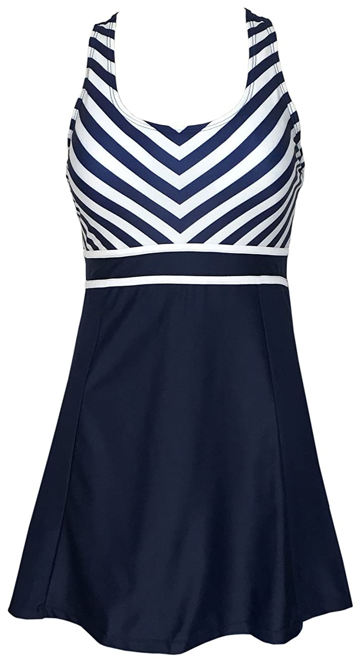 Women's One Piece Tankini Plus Size Swimdress Sailor Vintage Swimsuit 0