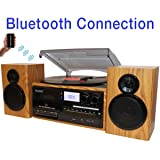 Boytone BT-28SPW, Bluetooth Classic Style Record Player Turntable with AM/FM Radio, CD / Cassette Player, 2 Separate Stereo Speakers, Record from Vinyl, Radio, and Cassette to MP3, SD slot, USB, AUX. (Color: wood)