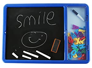 EduKid Toys Double Sided Chalk and White Board with ABC Magnets for Kids (Color: Whiteboard Double-sided, Marker & Storage)
