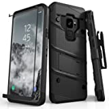 Zizo BOLT Series compatible with Samsung Galaxy S9 Case Military Grade Drop Tested with Tempered Glass Screen Protector Holster BLACK (Color: Black & Black)