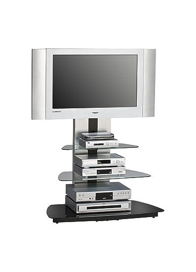 MAJA-Möbel 1618 9442 TV-Rack, Metall Alu - Schwarzglas, Abmessungen BxHxT: 90 x 128,8 x 54,3 cm