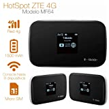 ZTE MF64 - Unlock, 21mbps 4G Mobile WiFi Hotspot (USA, Caribbean and Latin Bands) (Color: Black)