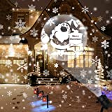 Christmas Projector Lights Outdoor Rotating Snowflake LED Christmas Lights, Waterproof Projector Decorating Stage Light Outdoor Snowfall Holiday Party Garden Landscape Lamp, White (Color: Black)