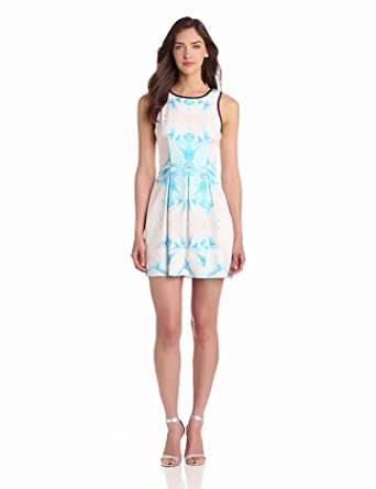 findersKEEPERS Women's Let's Get Back Dress, Rose Print/Blue, X-Small