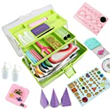 Paper Quilling Kits - Quilling Tools and Supplies,Paper Strips (Green Storage Toolbox) (Color: GREEN)