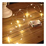 Sanniu Led String Lights, Mini Battery Powered Copper Wire Starry Fairy Lights, Battery Operated Lights for Bedroom, Christmas, Parties, Wedding, Centerpiece, Decoration (5m/16ft Warm White) (Color: Warm White)