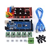 RAMPS 1.4 Controller + MEGA2560 R3 board + 5pcs Soldered A4988 Stepper Motor Drivers + 5pcs Heat Sinks + 19pcs Jumpers with USB Cable For Arduino RepRap 3D Printer Kit (Color: popular, Tamaño: normal)