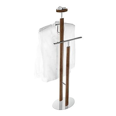 Wenko 18555100 Valet Stand Lugo, Chrome Walnut Wood Look, 49 x 121 x 27 cm