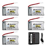 Powerextra 5Pcs 3.7V 600mAh LiPO Battery & X5 Battery Charger for Syma X5 X5C X5SW X5SC-1 CX-3W CX-31 M68 M68R UDI U45 Beginners X708W Wi-Fi Fpv Training RC Quadcopter