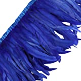 AWAYTR Rooster Hackle Feather Trim 10-12 inches Width for DIY Sewing Crafts Pack of 1 Yard (Royal Blue) (Color: Royal Blue, Tamaño: 1 Yard)