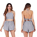 Hunzed Women Sexy Hot Shorts Set Summer Sleeveless Backless Striped Two Piece Tops Shorts Set Clubwear For Ladies (S, Black)
