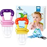 Baby Food Feeder - Tinabless Baby Fresh Fruit Feeder Teething Toys with Pacifier Clip Strap for Infant, Kids, Toddlers - M (2Pcs) (Color: Pink&Yellow Medium, Tamaño: Fruit Feeder - M)