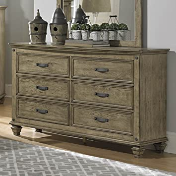 Homelegance Sylvania 6 Drawer Dresser in Oak Veneered Driftwood