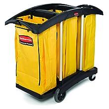 Rubbermaid Commercial FG9T9200BLA Triple Capacity Cleaning Aluminum Service Cart, Black