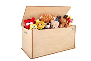 Little Helper 90 X 46 X 43.5 Cm Large Wooden  Toytidy  Toy Storage Box with Slow drop, No slam Lid Safety Device (Maple)       Customer review and more information