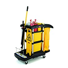 "Rubbermaid Commercial Housekeeping Service Cart with Color Coded Pails, Black, 44"" Height, 48-1/4"" Length x 22"" Width"