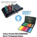 Faber Castel 72 Piece Polychromous Colored Pencil Set In Metal Tin, Artificial leather Case Hold for 72 Pencils