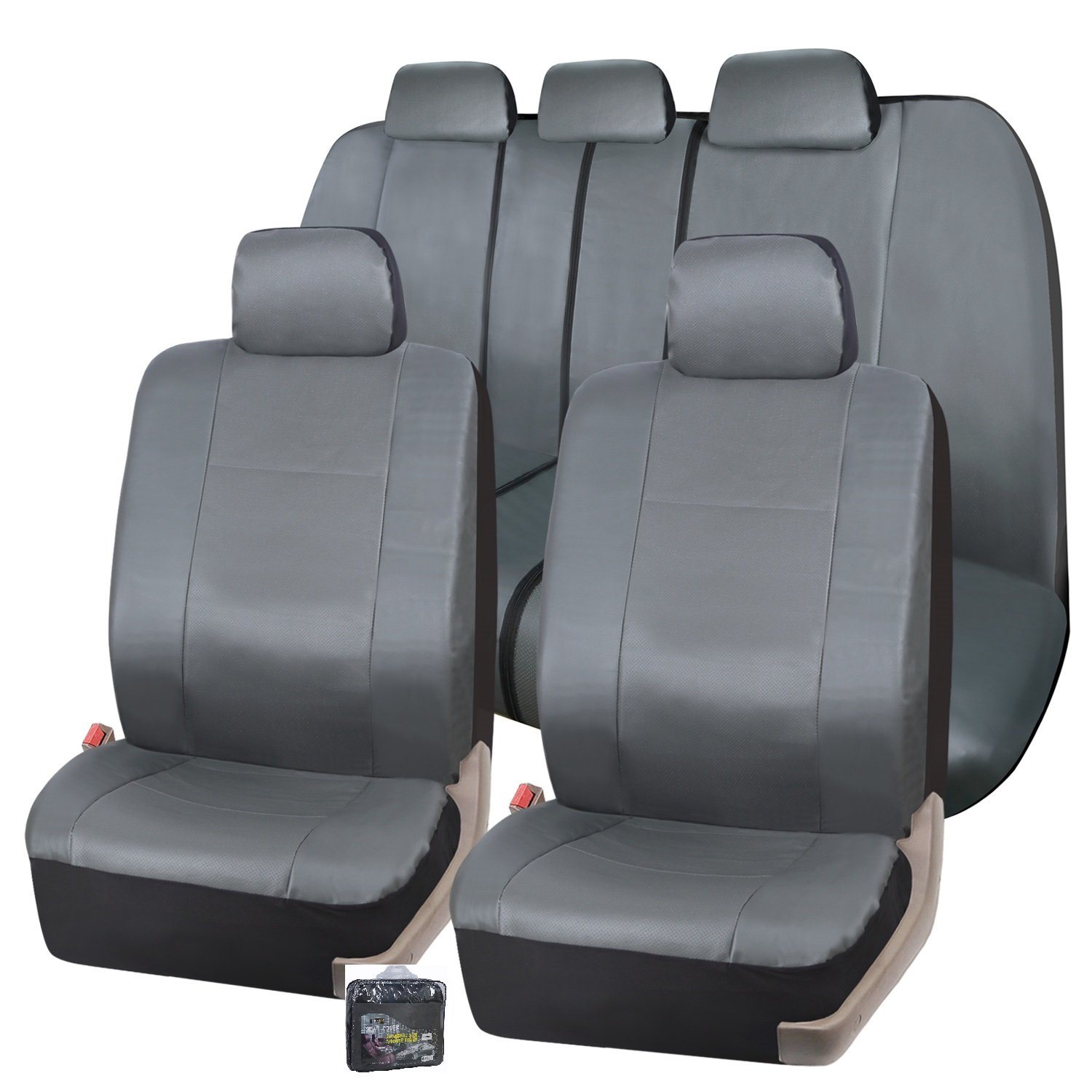 Zone Tech Gray Leather Car Seat Covers Full Set Air Bag