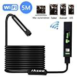 Inspection Camera, iksee WiFi Endoscope Snake Camera, 1200P HD Waterproof Borescope Camera with 8 LED Lights for iPhone, Android, Tablet, Windows & Mac OS Computer -16.4 ft(5M)
