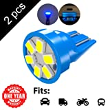 LED Monster 2-Pack Blue 6-SMD LED Bulbs for License Plate Lights Car Interior Dome Map Door Courtesy Extremely Bright Compact Wedge T10 168 194 2826 (Color: Blue, Tamaño: 6SMD)