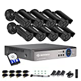 DEFEWAY 8 Channel Security Cameras System with 1080N AHD Audio DVR,8pcs Wired Waterproof Outdoor/Indoor Bullet Surveillance Cameras,1TB Hard Drive Included (Color: 8CH-8CAMS-1TB, Tamaño: 720P Security System)