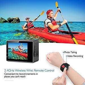 DRAGON TOUCH 4K CÁMARA DE ACCIÓN 16MP Sony Sensor Vision 3 Cámara subacuática impermeable 170 ° Gran angular WiFi Cámara deportiva con control remoto 2 Baterías y kit de accesorios de montaje