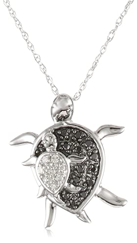 Mother and Baby Turtle Diamond Pendant Necklace at Amazon.com