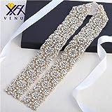 Gold Beaded Wide Wedding Dress Rhinestone Belt Applique Crystal Bridal Wedding Dress Ribbon Sash Applique (gold) (Color: Gold-465, Tamaño: 36*2.1 Inch)