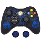 BRHE Cool Silicone Protector Cover Case Anti-Slip Soft Comfort for Xbox 360 Controller Skin (Blue) (Color: Blue)