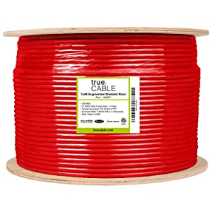 Cat6A Shielded Riser FTP Red 23AWG Solid Bare Copper Ethernet Cable 1000ft