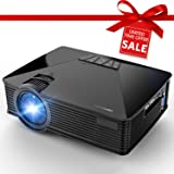 Projector, 2018 Upgraded DBPOWER Mini Projector, 50% Lumens 50000Hours Lamp Life Multimedia Home Theater LED Portable Projector, Support Smartphones/iPad/1080P/HDMI/USB/SD Card/VGA/Laptops/Games (Color: Black)