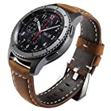 Maxjoy for Gear S3 Bands, S3 Frontier/Classic Watch Band 22mm Genuine Leather Strap Soft Replacement Wristband Bracelet with Stainless Steel Buckle Clasp for Samsung Gear S3 Sport Smart Watch, Brown (Color: Leather Band for Samsung Gear S3 - Brown)