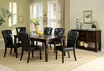 7 Pc. Woodmoor Dark Walnut Wood Finish Transitional Style Dining Table Set