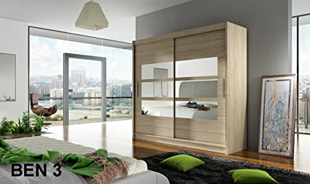 WARDROBE BEN 3 SONOMA 180 cm wide 2 sliding doors many colours