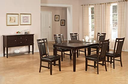 Home Source 50902086 5-Piece Fremont Collection Asian Hardwood Dining Set, 78 by 60 by 42-Inch, Espresso/Brown