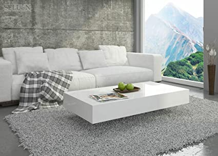 Couchtisch Hochglanz Weiß Wohnzimmer Tisch Beistelltisch Kaffeetisch - Pixel - 120x60 / 90x60 (90x60x30)
