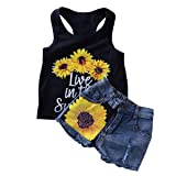 Camidy 2 Style Toddler Girl Sleeveless Vest Tops +Floral Denim Shorts Outfits Set (2-3T, Sunflower+Denim) (Color: Sunflower+denim, Tamaño: 2T/3T)