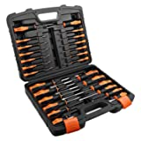 TACKLIFE 26PCS Magnetic Screwdriver Set with Case, Includs Slotted/Phillips/Torx Precision Screwdriver, Repair Tool Kit - HSS1A (Color: Orange&BLACK)