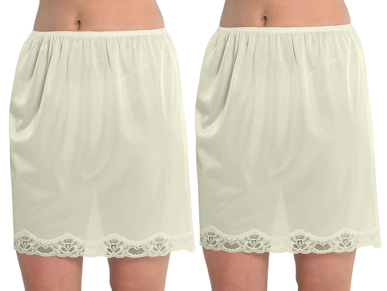 2 Pack Womens Damen Unterrock Slip mit Lace Trim 100 % Polyester resistentes Cling, 18 Zoll Länge (45cms), verschiedene Farben & Größen günstig kaufen