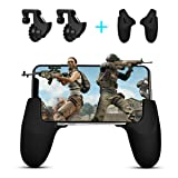 Mobile Game Controller, SUNTOYO Sensitive Shoot and Aim Keys L1R1 and Gamepad for PUBG/knives Out/Fortnite/Rules of Survival, Mobile Game Trigger Joysticks for Android iPhone (1 Pair + 1 Gamepad) (Color: black)